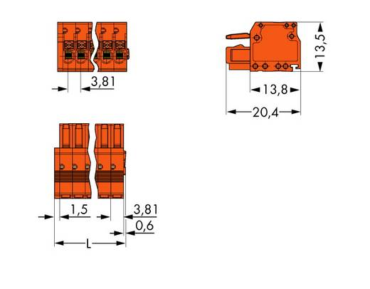 Buchsengehäuse-Kabel 2734 Polzahl Gesamt 8 WAGO 2734-208 Rastermaß: 3.81 mm 50 St.