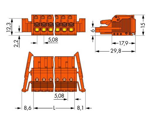 Buchsengehäuse-Kabel 2231 Polzahl Gesamt 22 WAGO 2231-322/037-000 Rastermaß: 5.08 mm 10 St.