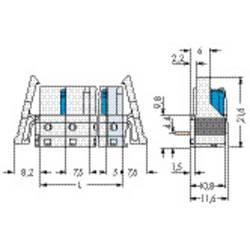 Zásuvkové puzdro na dosku WAGO 722-836/005-000/039-000, 59.8 mm, pólů 1, 50 ks