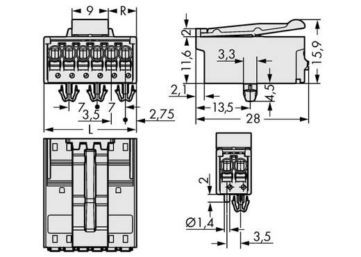 Stiftgehäuse-Platine 2091 Polzahl Gesamt 6 WAGO 2091-1526/020-000 Rastermaß: 3.50 mm 100 St.