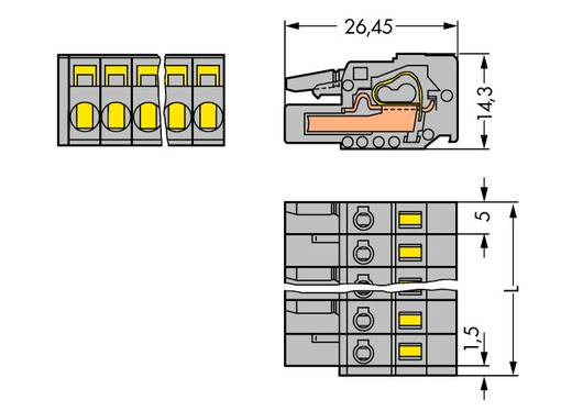 WAGO Buchsengehäuse-Kabel 231 Polzahl Gesamt 4 Rastermaß: 5 mm 231-104/026-000 100 St.