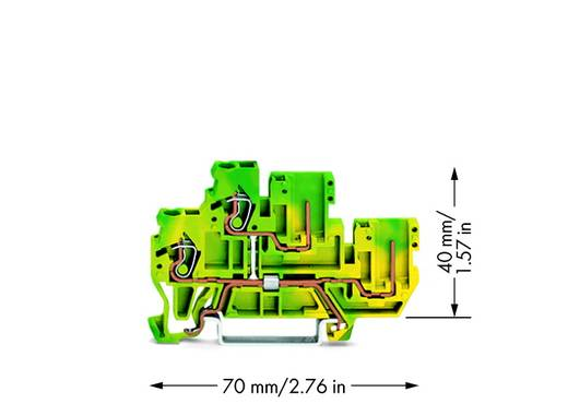 Doppelstock-Basisklemme 5 mm Zugfeder Belegung: PE Grün-Gelb WAGO 870-107 50 St.