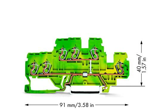 Doppelstock-Schutzleiterklemme 5 mm Zugfeder Belegung: PE Grün-Gelb WAGO 870-537 50 St.