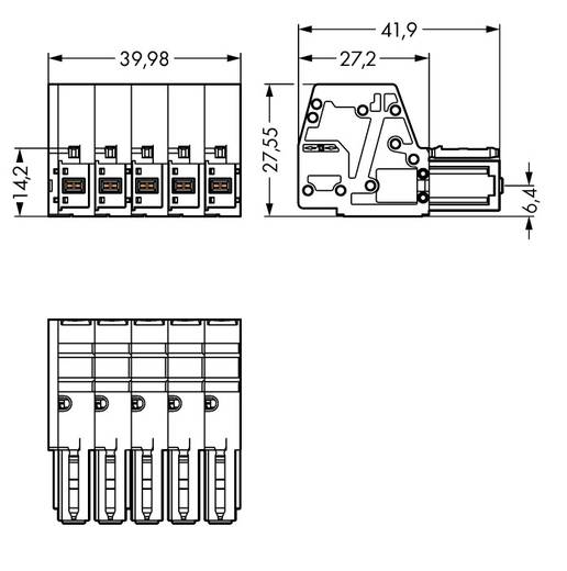 WAGO Buchsengehäuse-Kabel 831 Polzahl Gesamt 5 Rastermaß: 7.62 mm 831-3105/019-004 5 St.