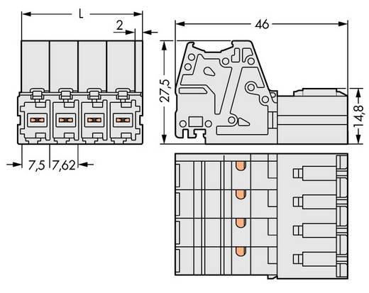 Buchsengehäuse-Kabel 831 Polzahl Gesamt 8 WAGO 831-3208 Rastermaß: 7.62 mm 12 St.