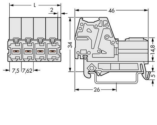 Buchsengehäuse-Kabel 831 Polzahl Gesamt 4 WAGO 831-3204/007-000 Rastermaß: 7.62 mm 24 St.