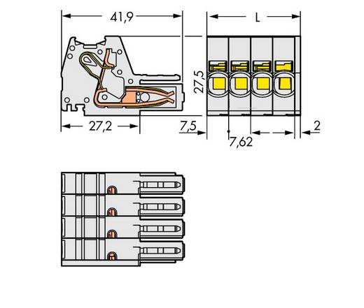 Buchsengehäuse-Kabel 831 Polzahl Gesamt 7 WAGO 831-3107 Rastermaß: 7.62 mm 12 St.