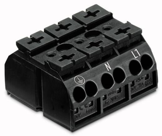 Geräteanschlussklemme Federklemme Schwarz WAGO 862-9503 250 St.