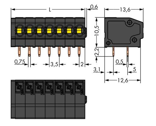 Federkraftklemmblock 1.50 mm² Polzahl 2 805-302/200-604 WAGO Schwarz 580 St.