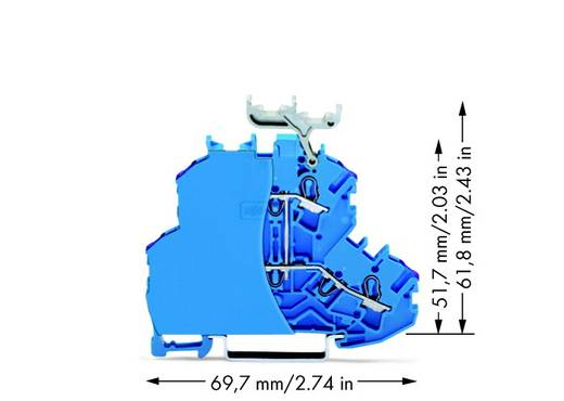 Doppelstock-Durchgangsklemme 4.20 mm Zugfeder Belegung: N Blau WAGO 2002-2239/099-000 50 St.
