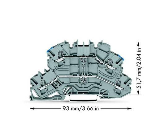 Doppelstock-Durchgangsklemme 5.20 mm Zugfeder Belegung: L, N Grau WAGO 2002-2603 50 St.