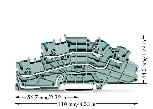 Installationsetagenklemme 5.20 mm Zugfeder Belegung: N, L Grau WAGO 2003-6649 50 St.