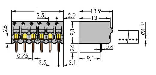 Federkraftklemmblock 1 mm² Polzahl 8 2081-1208 WAGO Grau 90 St.