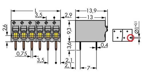 Federkraftklemmblock 1 mm² Polzahl 6 2081-1226 WAGO Grau 120 St.