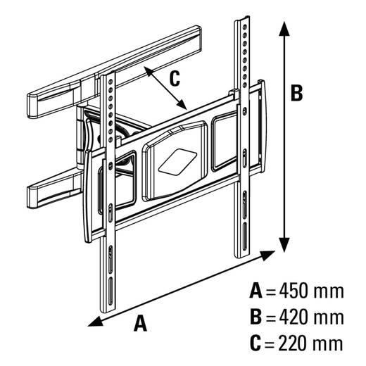 tv wandhalterung 58 4 cm 23 116 8 cm 46 neigbar schwenkbar rotierbar hama fullmotion. Black Bedroom Furniture Sets. Home Design Ideas