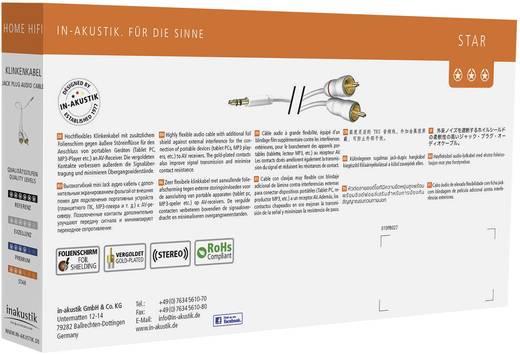 Inakustik Cinch / Klinke Audio Anschlusskabel [2x Cinch-Stecker - 1x Klinkenstecker 3.5 mm] 1.50 m Weiß vergoldete Steck
