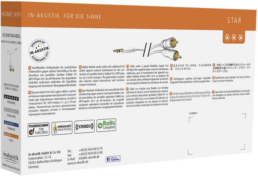 Inakustik Cinch / Klinke Audio Anschlusskabel [2x Cinch-Stecker - 1x Klinkenstecker 3.5 mm] 3 m Weiß vergoldete Steckkon