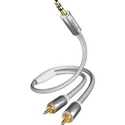 Cinch / jack audio prepojovací kábel Inakustik 00410005, 5 m, biela, strieborná