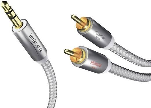 Cinch / Klinke Audio Anschlusskabel [2x Cinch-Stecker - 1x Klinkenstecker 3.5 mm] 5 m Weiß, Silber vergoldete Steckkontakte Inakustik