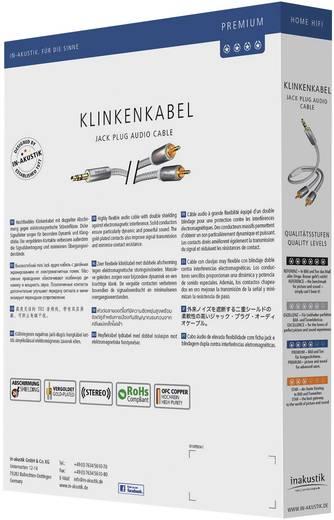 Cinch / Klinke Audio Anschlusskabel [2x Cinch-Stecker - 1x Klinkenstecker 3.5 mm] 3 m Weiß, Silber vergoldete Steckkontakte Inakustik