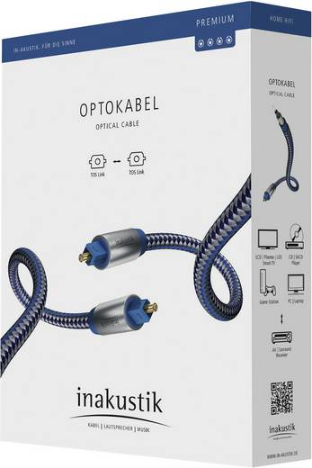 Toslink Digital-Audio Anschlusskabel [1x Toslink-Stecker (ODT) - 1x Toslink-Stecker (ODT)] 10 m Blau, Silber Inakustik