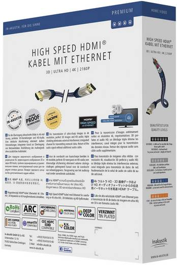 Inakustik HDMI Anschlusskabel [1x HDMI-Stecker - 1x HDMI-Stecker] 3 m Silber-Blau