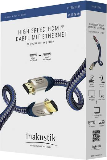 Inakustik HDMI Anschlusskabel [1x HDMI-Stecker - 1x HDMI-Stecker] 10 m Silber-Blau