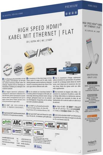 Inakustik Premium High Speed HDMI-Flach-Kabel mit Ethernet Weiß 3 m