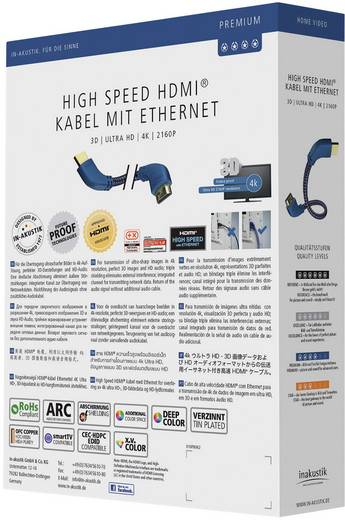 HDMI Anschlusskabel [1x HDMI-Stecker - 1x HDMI-Stecker] 3 m Silber-Blau Inakustik