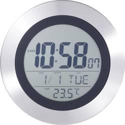 DCF digitální nástěnné hodiny s teploměrem KW 9092, stříbrná, černá
