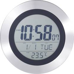 DCF digitální nástěnné hodiny s teploměrem KW 9092, stříbrná, černá - Nástěnné hodiny s teploměrem KL 2439 - Nástěnné hodiny s teploměrem KL 2439