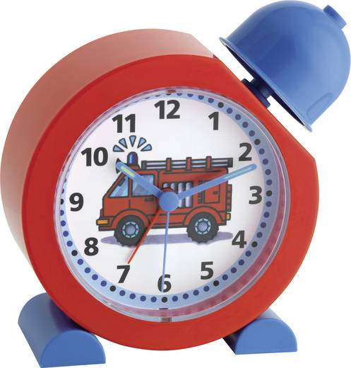 Quarz Kinderwecker TFA Réveil pour enfant, sirène de pompier 133 mm x 133 mm x 52 mm Rot, Blau