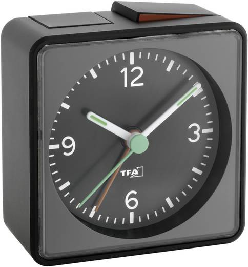 TFA 60.1013.01 Quarz Wecker Schwarz Alarmzeiten 1 Fluoreszierend Zeiger