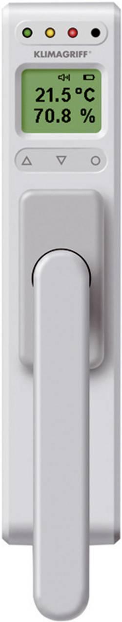 Okenní klička s integrovaný teploměrem a vlhkoměrem InterBär Klimagriff, stříbrná