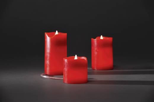 LED-Echtwachskerze 3er Set Rot Warm-Weiß (Ø x H) 6.5 cm x 12.5 cm Konstsmide