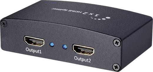 2 Port HDMI-Splitter SpeaKa Professional Ultra HD-fähig, 3D-Wiedergabe möglich 3840 x 2160 Pixel Schwarz