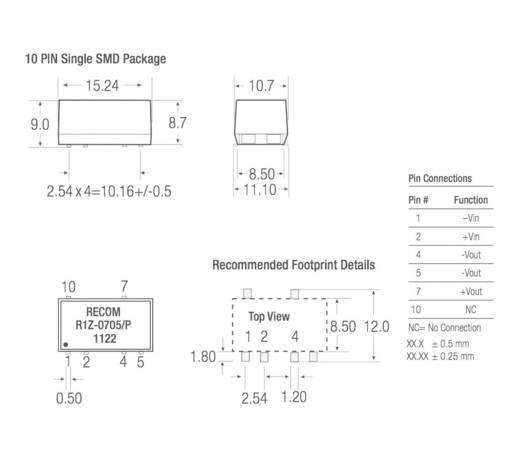 DC/DC-Wandler, SMD RECOM R1Z-0505/HP 5 V/DC 5 V/DC 200 mA 1 W Anzahl Ausgänge: 1 x
