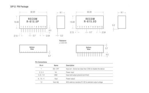 DC/DC-Wandler, Print RECOM R-619.0P 9 V/DC 1 A 9 W Anzahl Ausgänge: 1 x