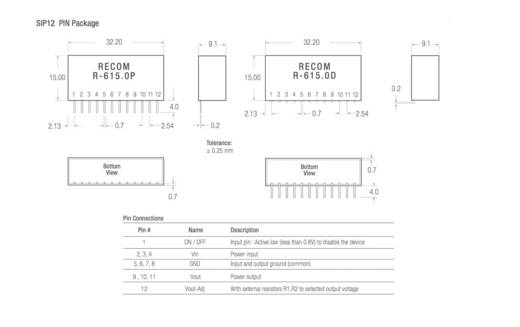 RECOM R-615.0P DC/DC-Wandler, Print 5 V/DC 1 A 5 W Anzahl Ausgänge: 1 x