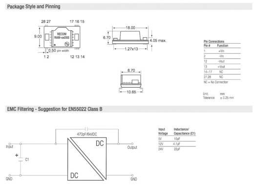DC/DC-Wandler-Baustein RECOM RAM-2405S/H 24 V/DC 5 V/DC 200 mA 1 W Anzahl Ausgänge: 1 x
