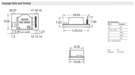 DC/DC-Wandler-Baustein RECOM RAZ-0505S/H 5 V/DC 5 V/DC 200 mA 1 W Anzahl Ausgänge: 1 x