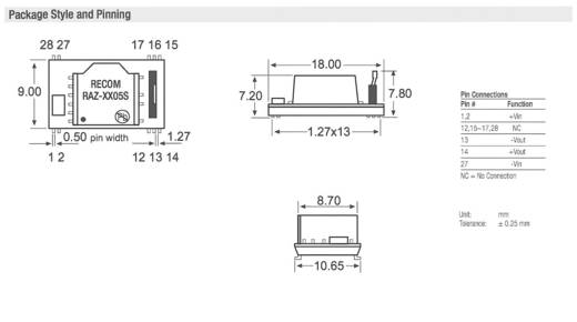 DC/DC-Wandler-Baustein RECOM RAZ-1205S/H 12 V/DC 5 V/DC 200 mA 1 W Anzahl Ausgänge: 1 x