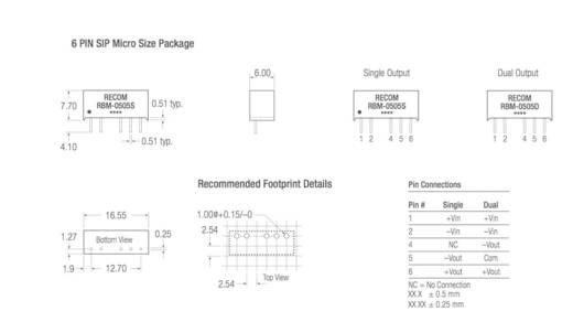 RECOM RBM-1215D DC/DC-Wandler, Print 12 V/DC 15 V/DC, -15 V/DC 33 mA 1 W Anzahl Ausgänge: 2 x