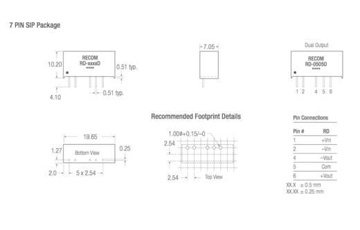 RECOM RD-2412D DC/DC-Wandler, Print 24 V/DC 12 V/DC, -12 V/DC 84 mA 2 W Anzahl Ausgänge: 2 x