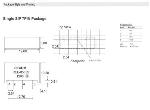 DC/DC-Wandler, Print RECOM REE-0505S 5 V/DC 5 V/DC 200 mA 1 W Anzahl Ausgänge: 1 x