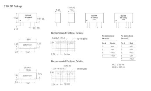 DC/DC-Wandler, Print RECOM RH-2415D 24 V/DC 15 V/DC, -15 V/DC 33 mA 1 W Anzahl Ausgänge: 2 x