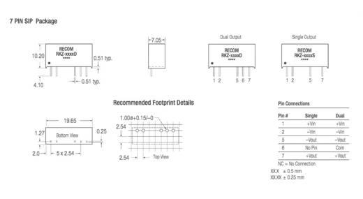 RECOM RKZ-0505S DC/DC-Wandler, Print 5 V/DC 5 V/DC 400 mA 2 W Anzahl Ausgänge: 1 x