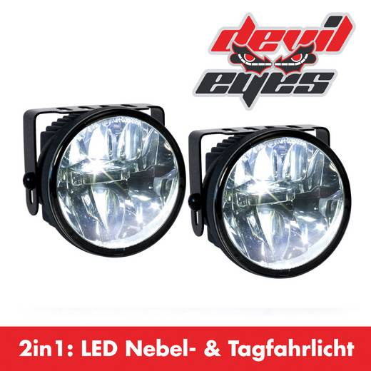 Nebelscheinwerfer, Tagfahrlicht LED (Ø x L) 77 mm x 65 mm Devil Eyes 610767