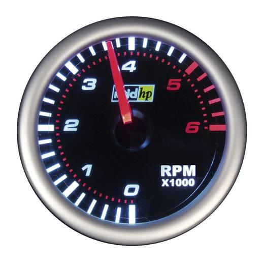 Kfz Einbauinstrument Drehzahlmesser Benzinmotor Messbereich 0 - 6000 U/min raid hp 660247 NightFlight Weiß, Rot 52 mm