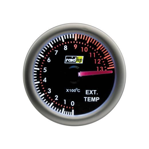 Kfz Einbauinstrument Abgastemperaturanzeige Messbereich 0 - 1300 °C raid hp 660409 NightFlight Weiß, Rot 52 mm